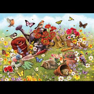 Garden Scene - Family Pieces Puzzle