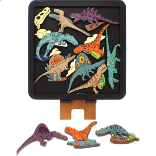 Puzzle Solution for Carnivorous Dinosaurs - Wooden Packing Puzzle