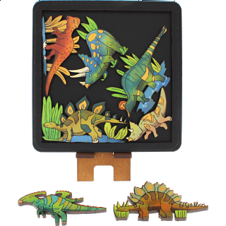 Puzzle Solution for Herbivore Dinosaurs - Wooden Packing Puzzle