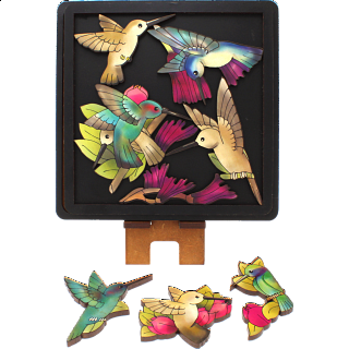 Puzzle Solution for Hummingbirds - Wooden Packing Puzzle