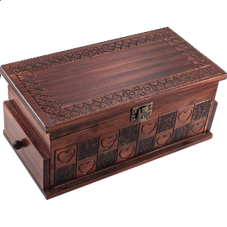 Heart Trick Box - Large Brown