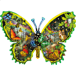 Butterfly Migration - Shaped Jigsaw Puzzle