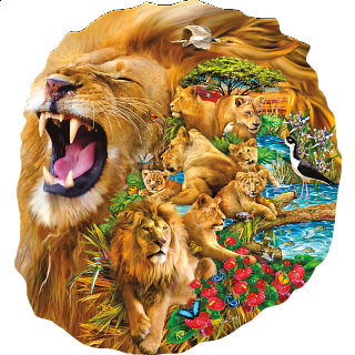 Lion Family - Shaped Jigsaw Puzzle