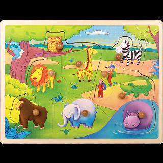 Little Moppet: Safari Animal Wooden Peg Puzzle