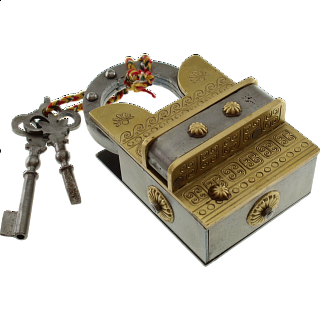15 Step Extreme Brass & Iron - 2 Key Puzzle Lock