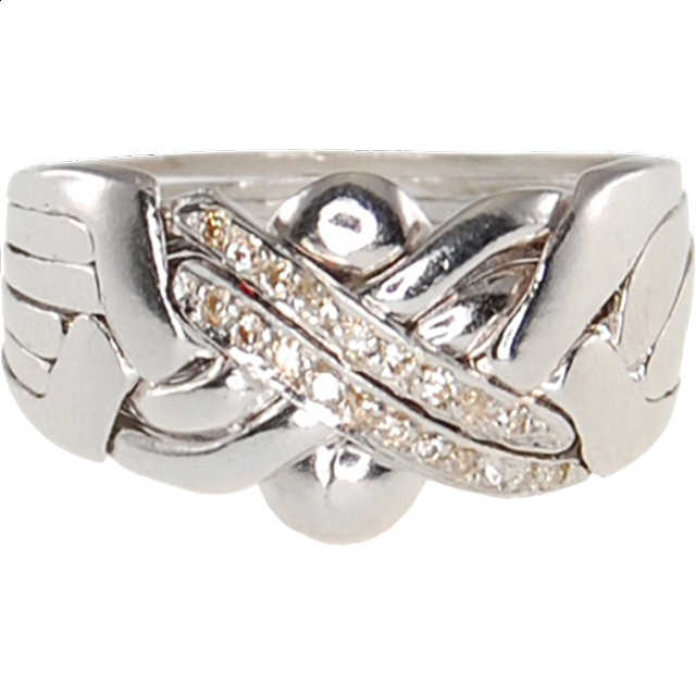 6 Band Sterling Silver Puzzle Ring Diamond
