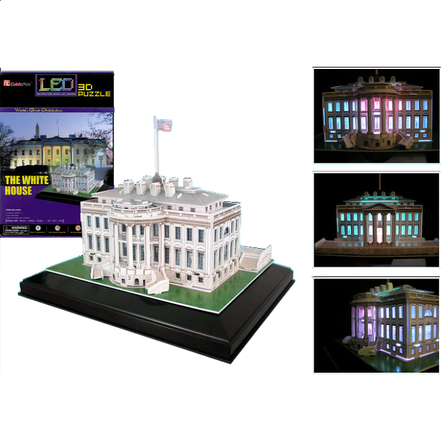 the white house led lit 3d jigsaw puzzle more puzzles puzzle master inc. Black Bedroom Furniture Sets. Home Design Ideas