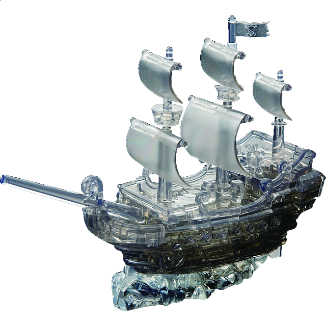 3D Crystal Puzzle Deluxe - Pirate Ship (Black)
