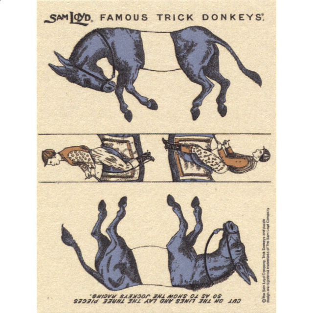 famous-trick-donkeys-color-post-card-english-blue