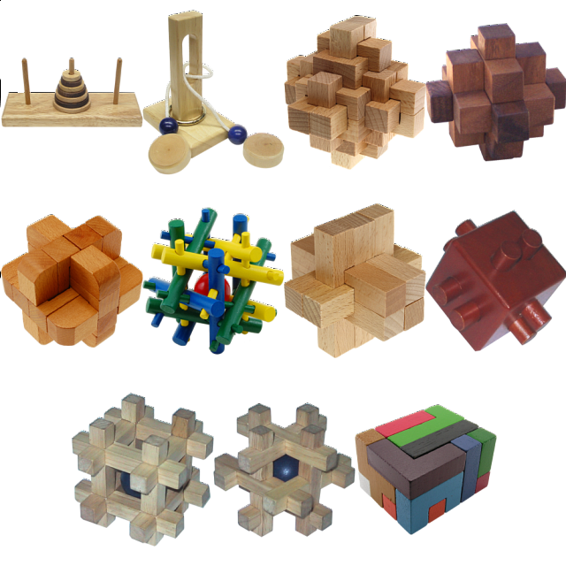 .Level 9 - a set of 11 wood puzzles