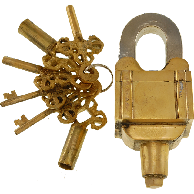 brass 6 key square trick puzzle padlock 3 keys x 2 wire