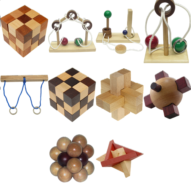 .level 8 - A Set Of 7 Wood Puzzles