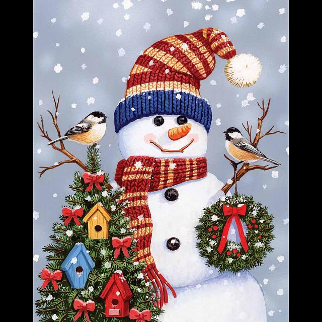 Snowman & Chickadees