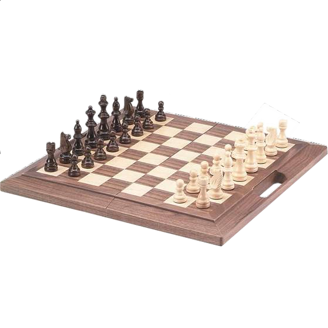 Deluxe Wooden Chess Set - Folding 16 inch walnut with Handle