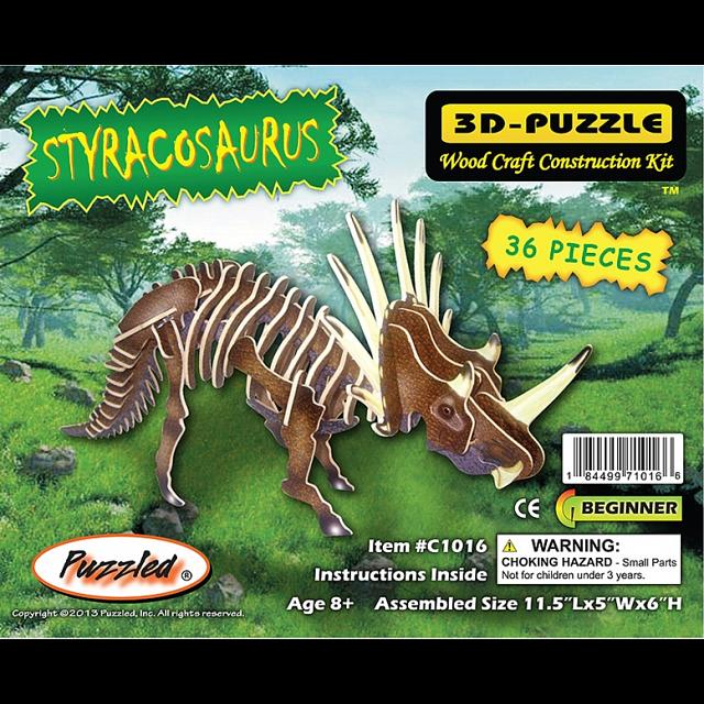Styracosaurus - Illuminated 3D Wooden Puzzle
