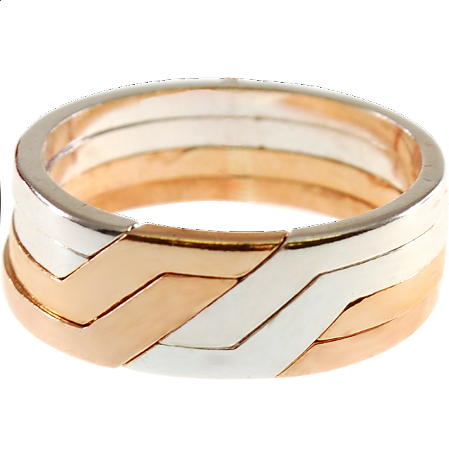 4 Band Silver & Bronze Puzzle Ring