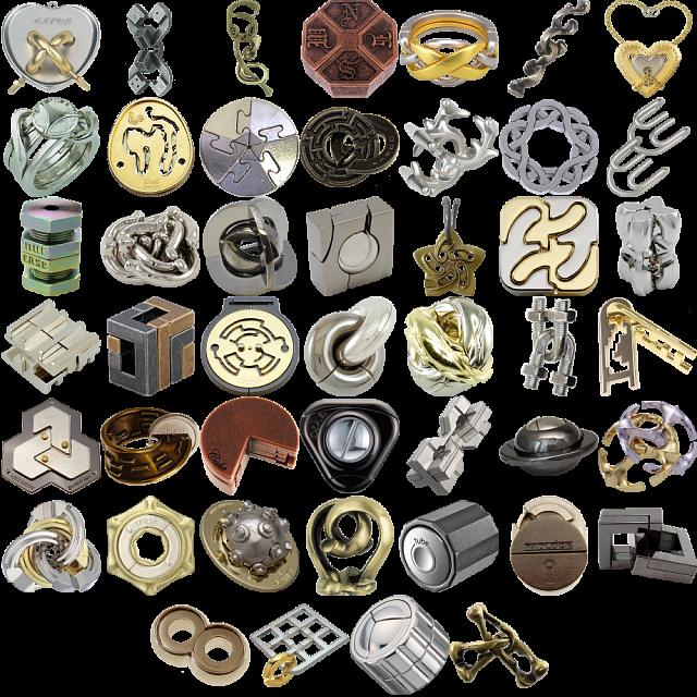 Levels 4-6: a set of 42 Hanayama Metal Puzzles