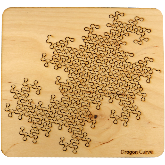 Wooden Fractal Tray Puzzle Dragon Curve Wood Puzzles Puzzle