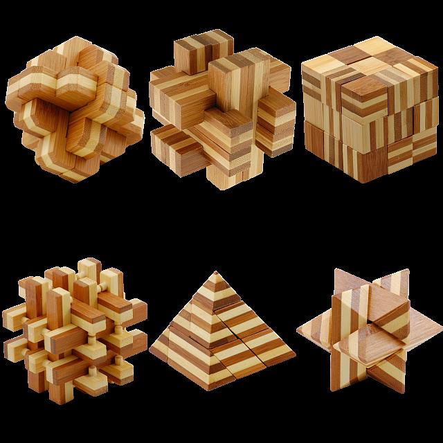 Bamboo   Puzzle   Wood   Set
