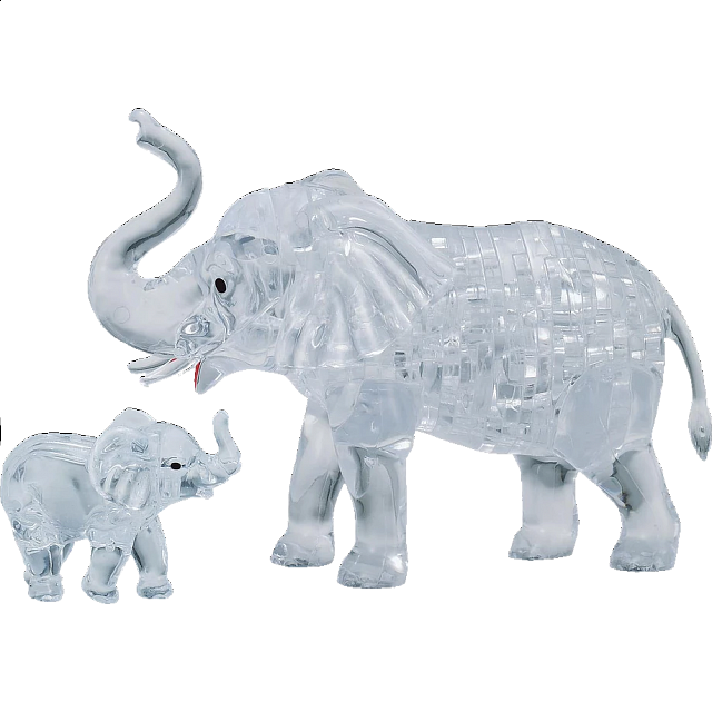 3D Crystal Puzzle - Elephant & Baby - from $17.99