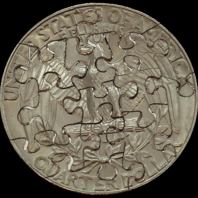 15 Piece Quarter - Coin Jigsaw Puzzle