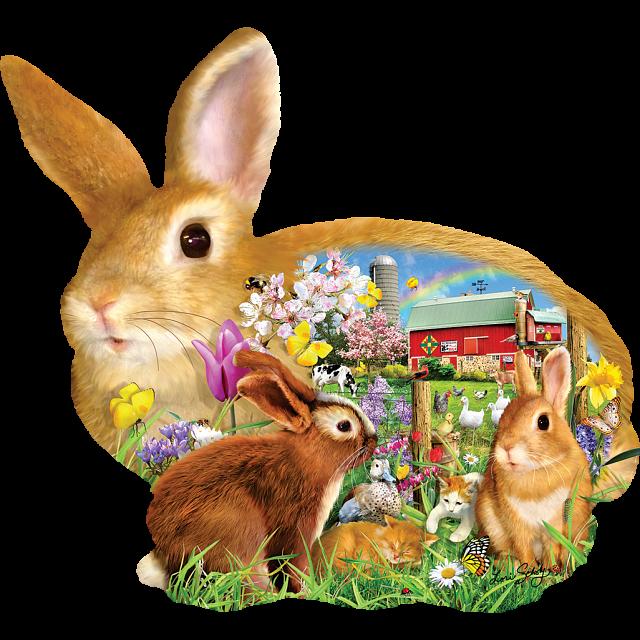 Springtime Bunnies - Shaped Jigsaw Puzzle