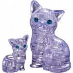 3D Crystal Puzzle - Cat & Kitten (Clear)