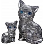 3D Crystal Puzzle - Cat & Kitten (Black)
