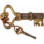 Key Shaped Iron & Brass Puzzle Lock image