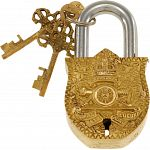 Brass Puzzle Trick Padlock - Coat of Arms image