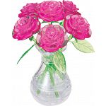 3D Crystal Puzzle - Roses in Vase (Pink) image