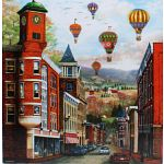 The Clock Tower with Balloons: Mary Vessey - Large Piece image
