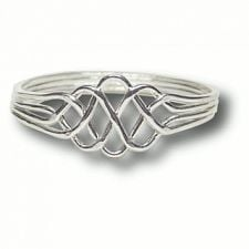 4 Band - Sterling Silver Puzzle Ring - Princess -