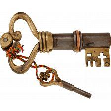 Key Shaped Iron & Brass Puzzle Lock -