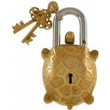 Brass Tortoise Trick Puzzle Padlock -