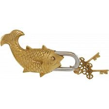 Brass Fish Trick Puzzle Padlock -