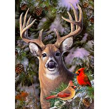 One Deer Two Cardinals - Large Piece -