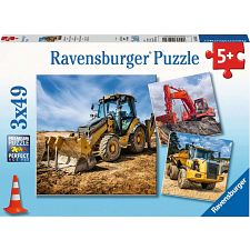 Digger At Work! - 3 x 49 piece puzzles -
