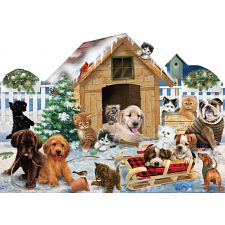 Playing in the Snow - Shaped Jigsaw Puzzle -