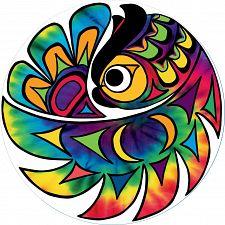 Tie-dye Owl - Large Piece Round Puzzle -
