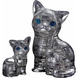 3D Crystal Puzzle - Cat & Kitten (Black)
